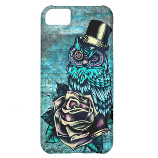 Colorful textured owl illustration on teal base. cover for iPhone 5C