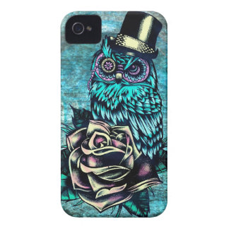 Colorful textured owl illustration on teal base. iPhone 4 case