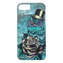 Colorful textured owl illustration on teal base. iPhone 7 case