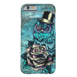 Colorful textured owl illustration on teal base. iPhone 6 case