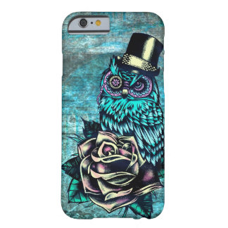 Colorful textured owl illustration on teal base iPhone 6 case