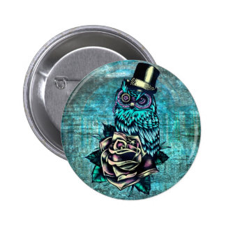 Colorful textured owl illustration on teal base. pinback button