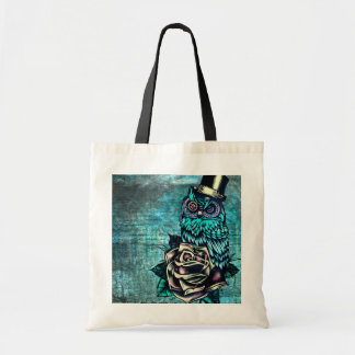 Colorful textured owl illustration on teal base. tote bag