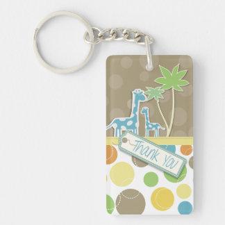 Colorful thank you giraffe and tree keyrings