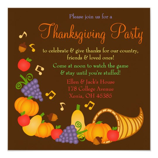 colorful thanksgiving dinner party invitation zazzle com