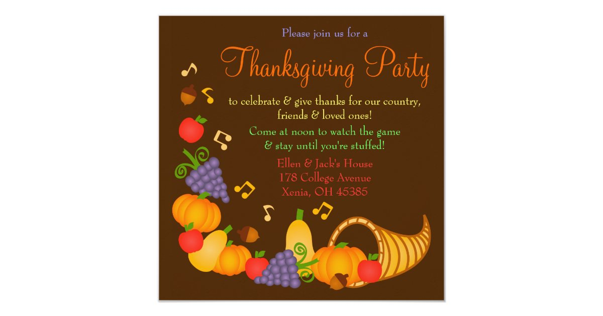 Colorful Thanksgiving Dinner Party Invitation | Zazzle.com