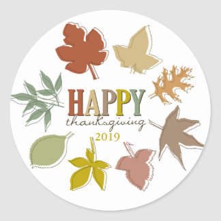 Colorful Thanksgiving Leaves Holiday Gift Tag Stic Classic Round Sticker