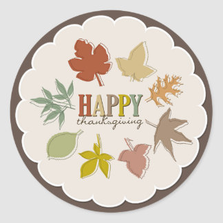 Colorful Thanksgiving Leaves Holiday Gift Tag Classic Round Sticker