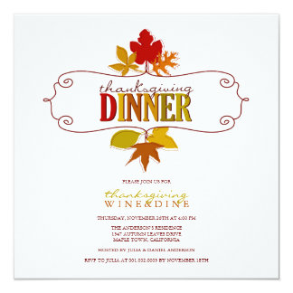 Colorful Thanksgiving Leaves Holiday Party Invite