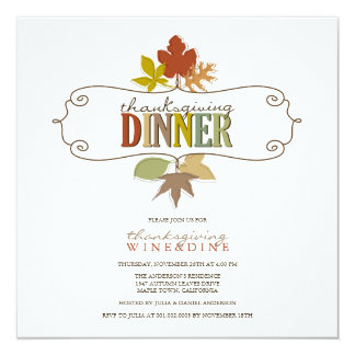"Colorful Thanksgiving Leaves Holiday Party Invite 5.25"" Square Invitation Card"