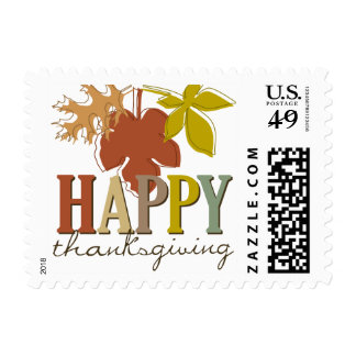 Colorful Thanksgiving Leaves Holiday Stamps