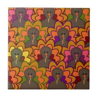 Colorful Thanksgiving Turkeys Tile