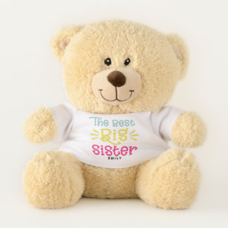 Colorful The Best Big Sister Cute Hand Lettered Teddy Bear
