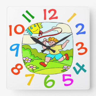 Colorful Theme Kids Room Flying Kite Wall Clock