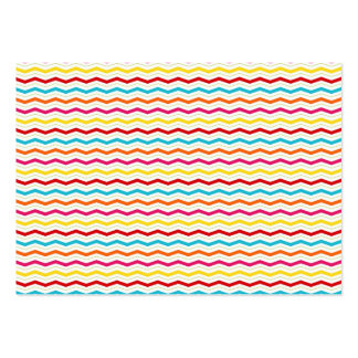 Colorful Thin Chevron Zigzag Stripes Pattern Business Card Template