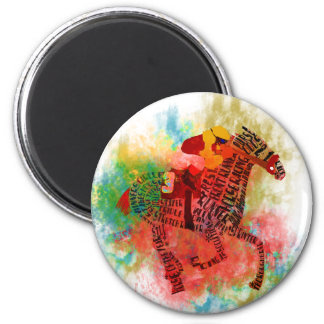 Colorful Thoroughbred in Typography 2 Inch Round Magnet