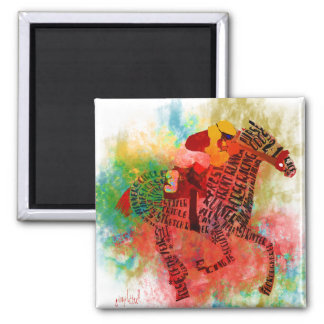 Colorful Thoroughbred in Typography 2 Inch Square Magnet