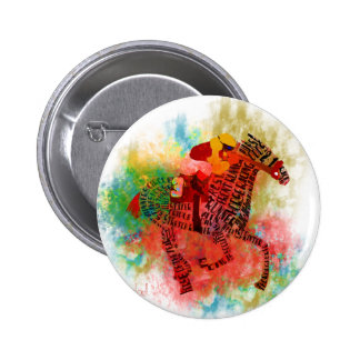 Colorful Thoroughbred in Typography Button