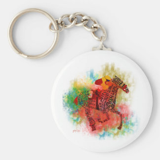 Colorful Thoroughbred in Typography Keychain