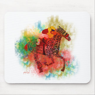 Colorful Thoroughbred in Typography Mousepads