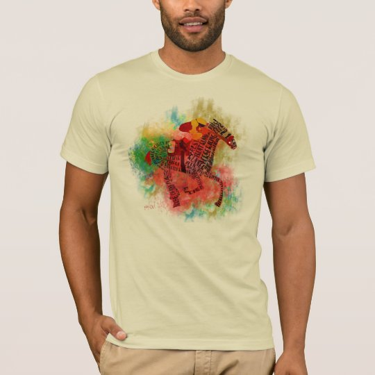 Colorful Thoroughbred in Typography T-Shirt