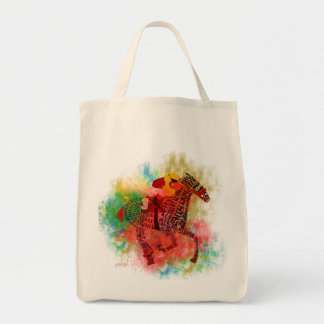 Colorful Thoroughbred in Typography Tote Bag