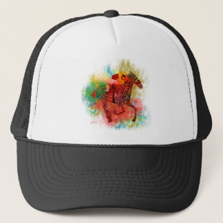 Colorful Thoroughbred in Typography Trucker Hat