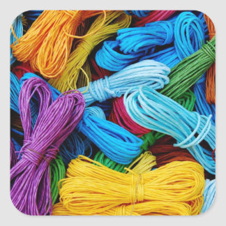 Colorful Thread Teal Purple Yellow Red Sewing Gift Square Sticker
