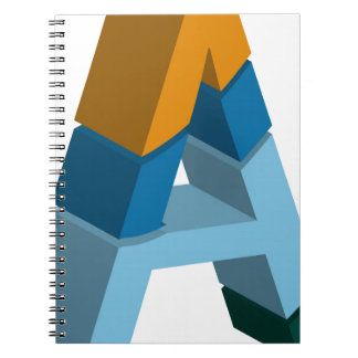 Colorful three-dimensional font letter a notebook