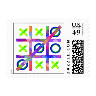 Colorful Tic Tac Toe Postage Stamp