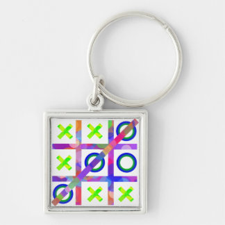 Colorful Tic Tac Toe Silver-Colored Square Keychain
