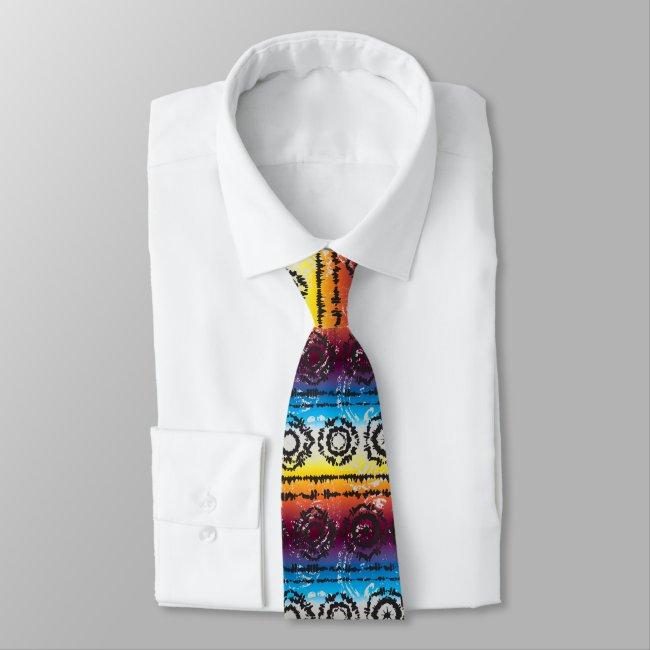 Colorful Tie Dye Batik Design Necktie