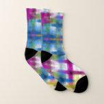 Colorful Tie Dye in Ikat Style Gingham Pattern Socks