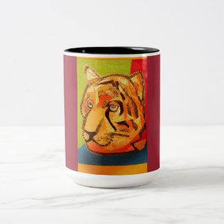 Colorful Tiger Design on Two Tone Ringer Mug