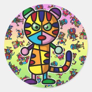colorful tiger classic round sticker