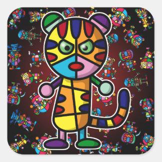 colorful tiger square sticker