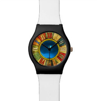 COLORFUL TIME WITH PRINTED BLUE SAPPHIRE GEMSTONE WRIST WATCH