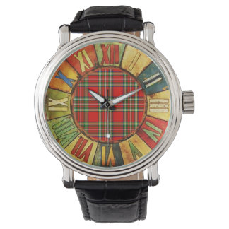 COLORFUL TIME WITH RED GREEN SCOTTISH TARTAN WRIST WATCH