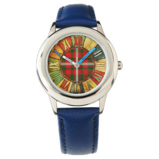 COLORFUL TIME WITH WHITE GREEN RED SCOTTISH TARTAN WATCH