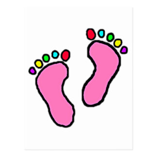 Colorful Toes Pink Soles Cartoon Art Postcard