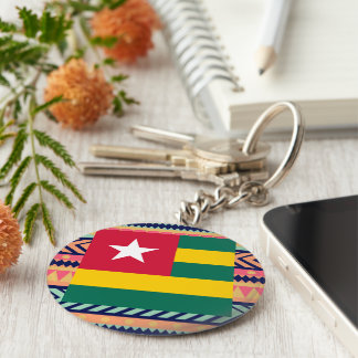 Colorful Togo Flag Box Basic Round Button Keychain