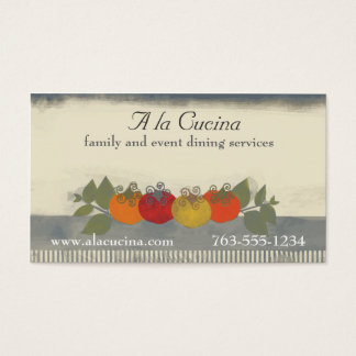 Colorful tomatoes basil chef catering biz cards