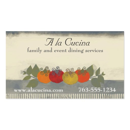 Colorful tomatoes basil chef catering biz cards business for Catering business cards samples