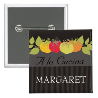 Colorful tomatoes basil chef catering name tags button