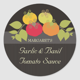 Colorful tomatoes basil gift tags food stickers