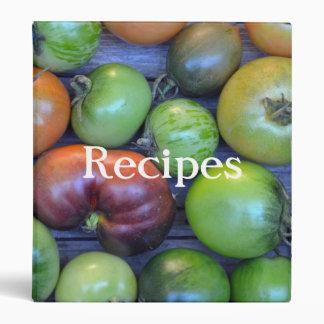 Colorful tomatoes recipe binder