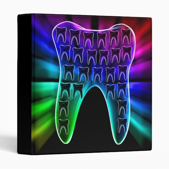 Colorful Tooth Design Dentist Office Supply Binder