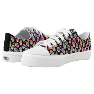 Colorful Tossed Sugar Skulls Printed Shoes