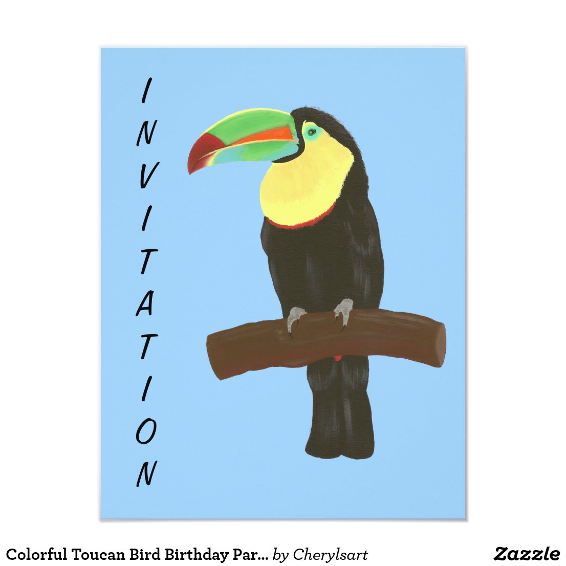 Colorful Toucan Bird Birthday Party Invitations
