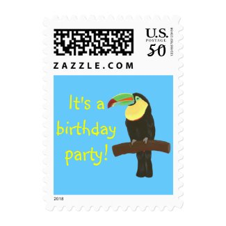 Colorful Toucan Birthday Party Stamps